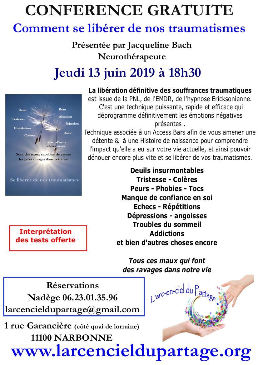 Narbonne - Conférence Comment se libérer de nos traumatismes par Jacqueline Bach @ l'arc en ciel du partage